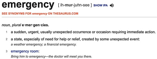 """A screenshot of the definition of """"emergency"""" from dictionary.com"""