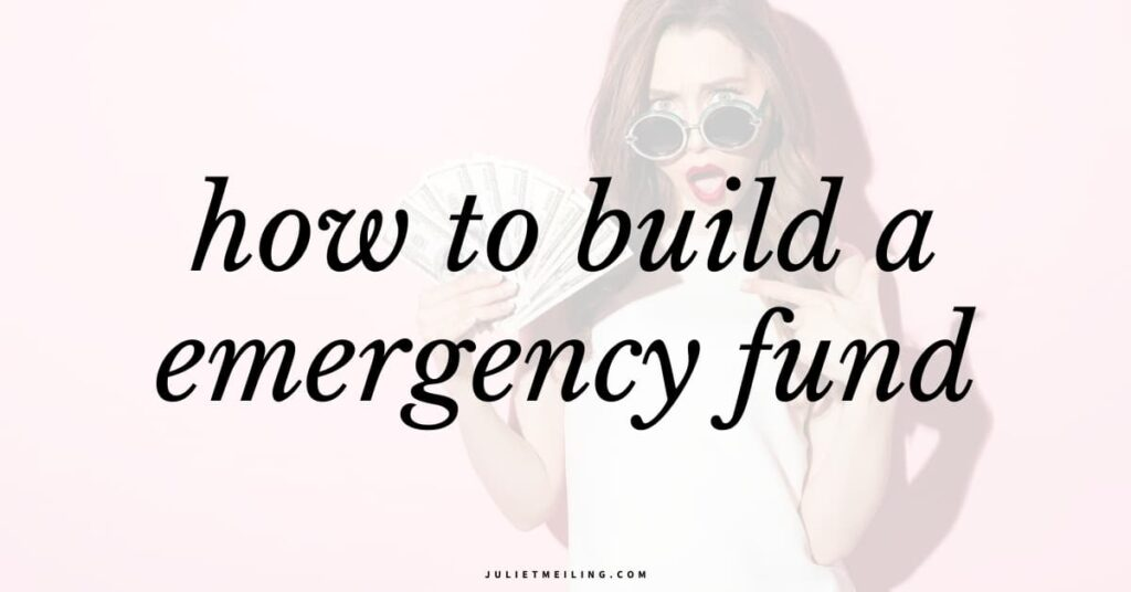 """A woman flaunting cash. The text overlay says, """"how to build an emergency fund."""""""