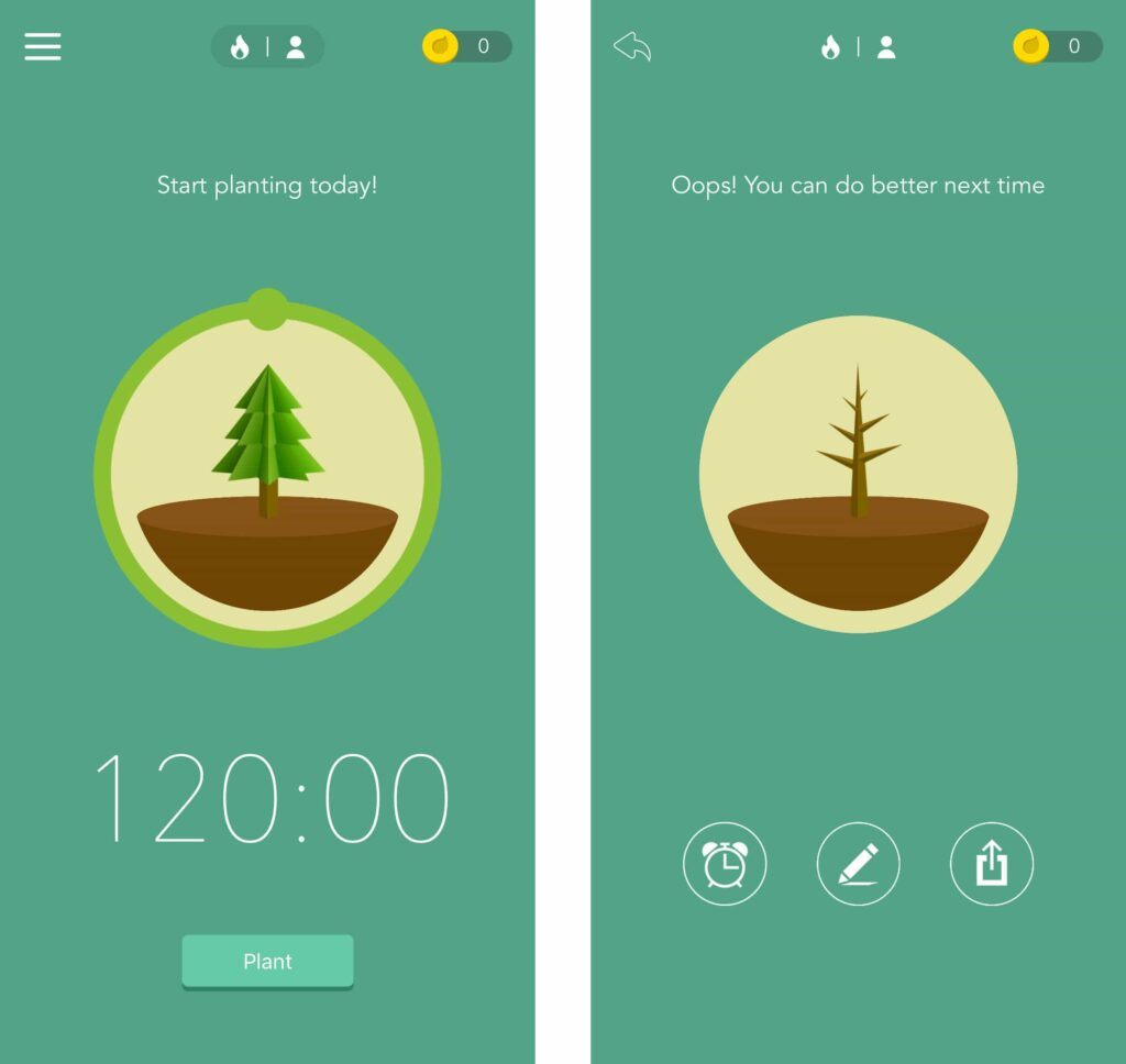 Screenshot of the Forest app for Android and iPhones.