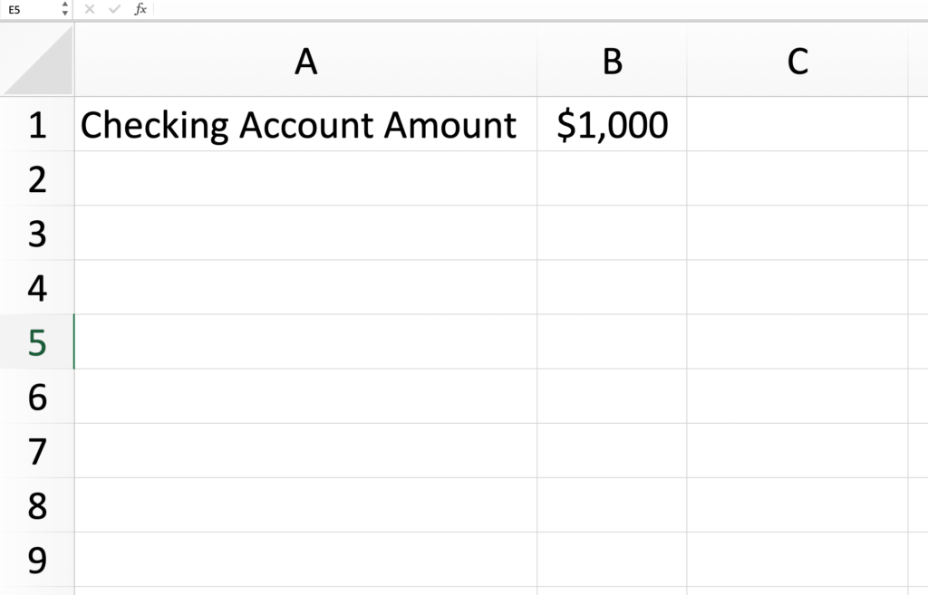 An excel spreadsheet for a blank expense tracker.