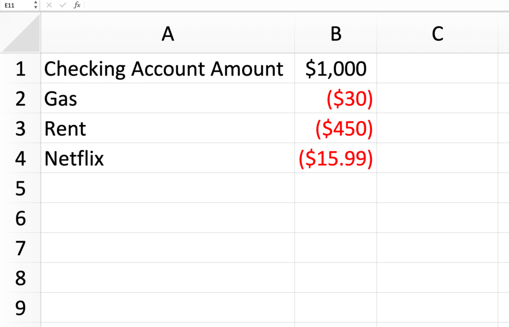 A Excel spreadsheet for an expense tracker.
