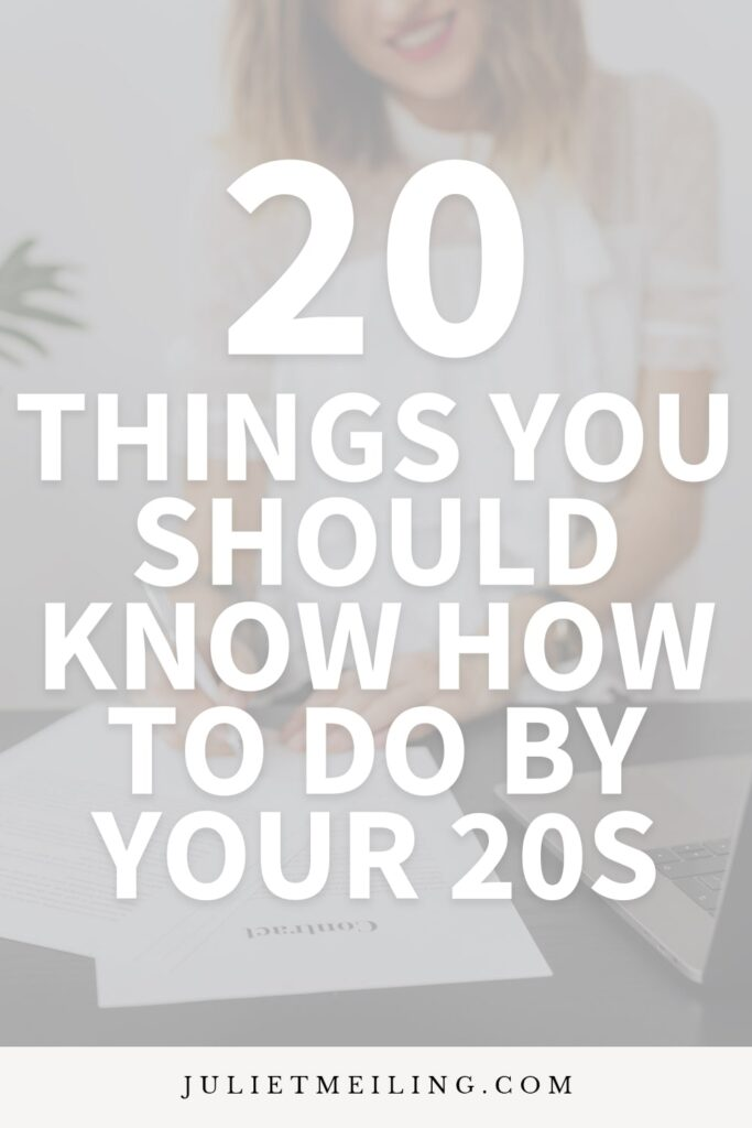"A woman sitting at a table and writing. The text overlay says, ""20 things you should know how to do by your 20s."""