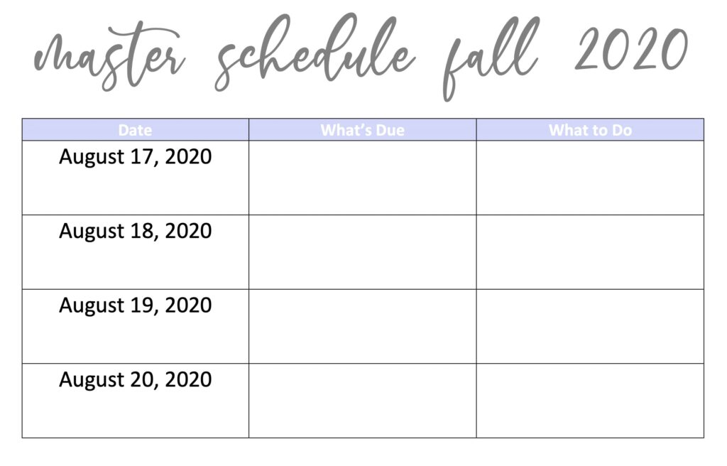 An example of a blank master schedule for a college student