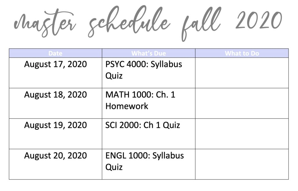 An example of a master schedule for a college student with the due dates filled in.