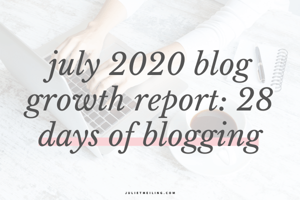 """A woman typing on a computer. The text overlay says, """"July 2020 blog growth report: 28 days of blogging."""""""