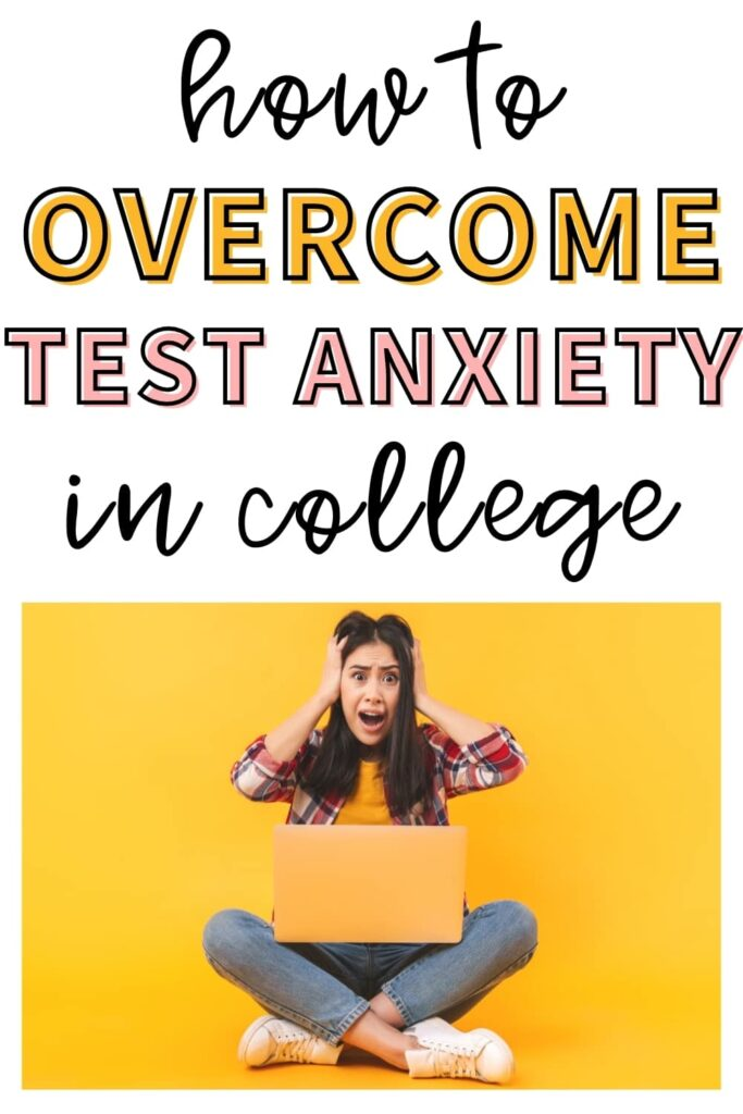 "A college student screaming at her computer. The text overlay says, ""how to overcome test anxiety in college."""