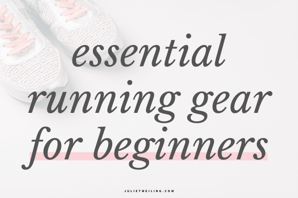 """A photo of running shoes in a corner. The text overlay says, """"essential running gear for beginners."""""""