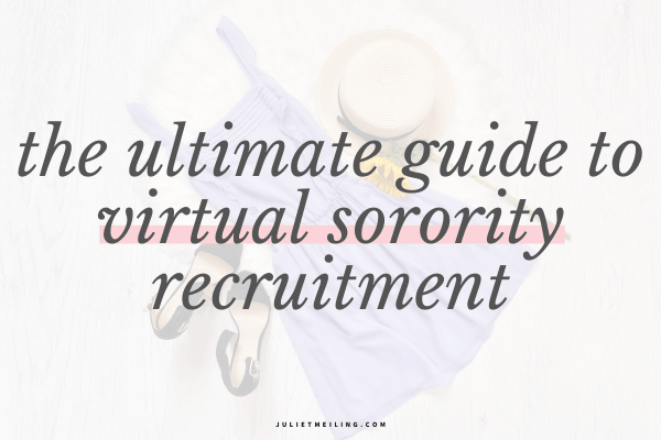 """A purple dress on a bed. The text overlay says, """"the ultimate guide to virtual sorority recruitment"""""""