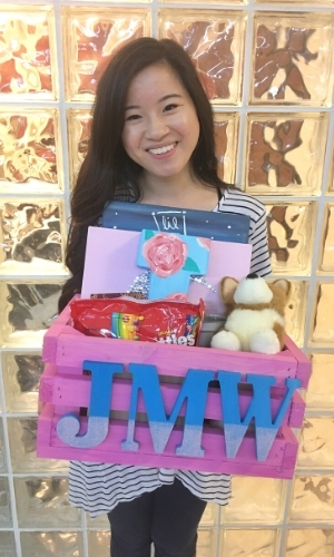 Juliet Meiling of JulietMeiling.com back in 2016 picking up one of her gift baskets during sorority Big Little Reveal Week.
