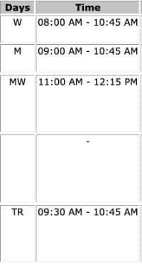 An example of an actually college student's course schedule.