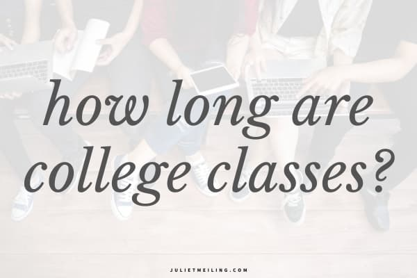 """Students sitting together on their phones and tablets. The text overlay reads, """"how long are college classes?"""""""