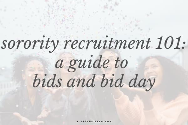 """Four women throwing confetti in the air. The text overlay says, """"sorority recruitment 101: a guide to bids and bid day."""""""