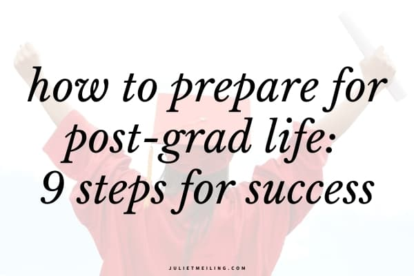 "A woman in a red graduation gown celebrating after graduating from college. The text overlay reads, ""how to prepare for post-grad life: 9 steps for success."""
