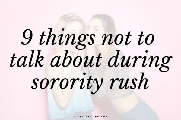 """Two sorority women sharing secrets with one another. The text overlay reads, """"9 things not to talk about during sorority rush."""""""