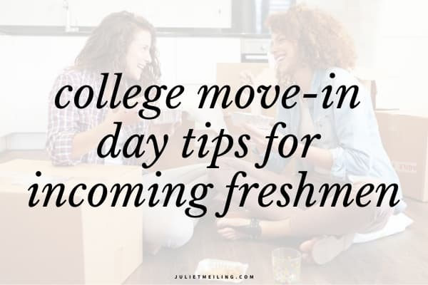 """Two college freshmen enjoying a meal together in their college dorm room after moving in. The text overlay says, """"college move-in day tips for incoming freshmen."""""""