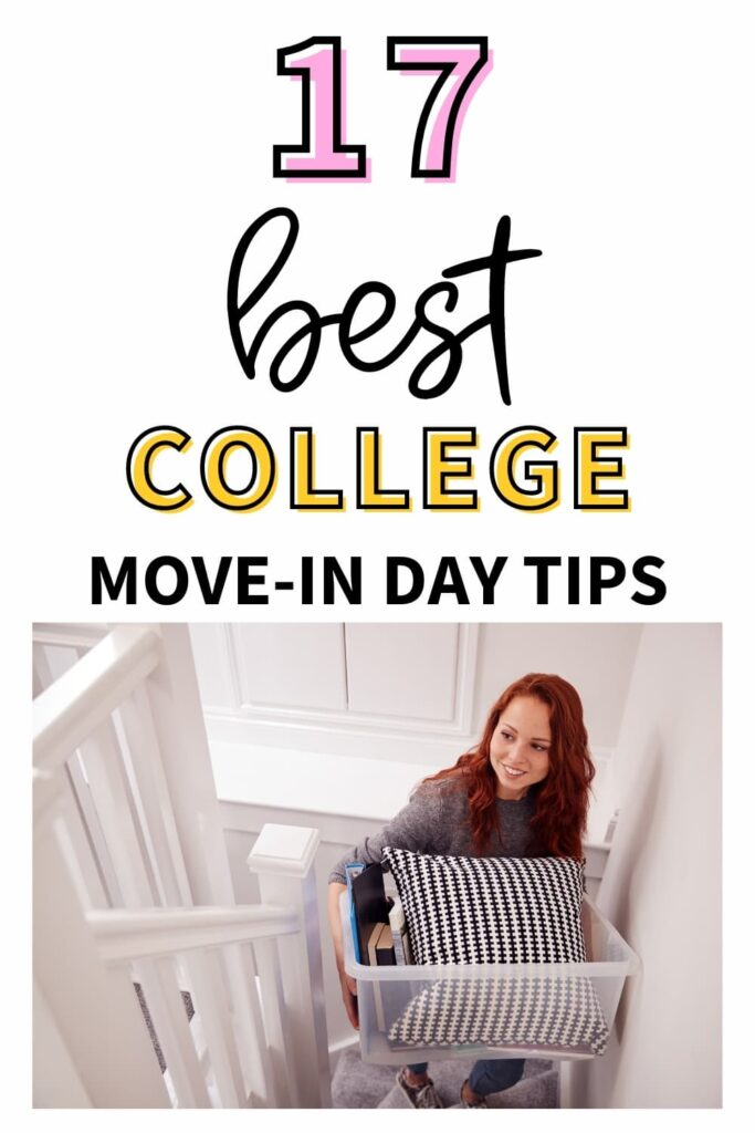 A college freshman moving into her first college dorm on college move-in day.