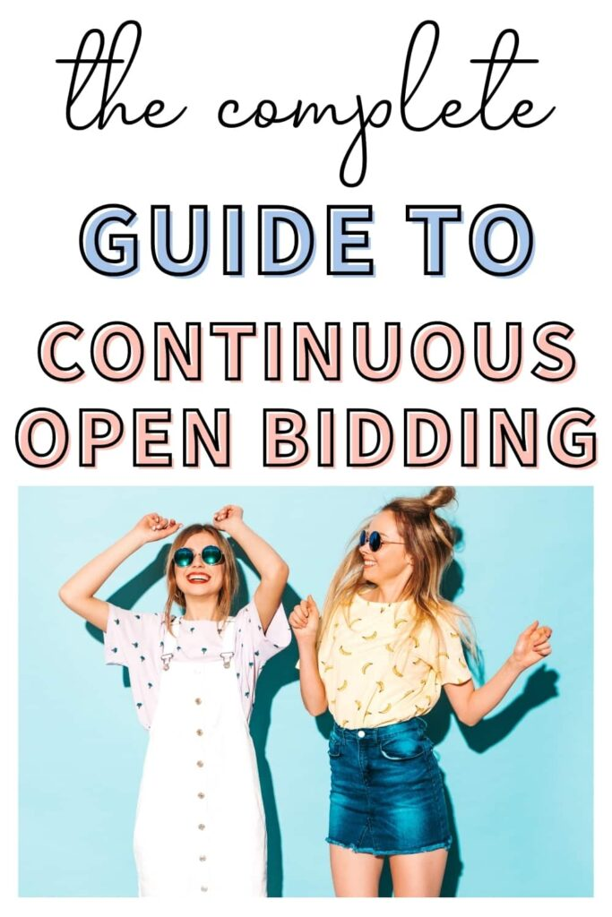 """Two sorority women jumping up and down against a blue wall because they are excited about informal sorority recruitment. The text overlay says, """"the complete guide to continuous open bidding."""""""