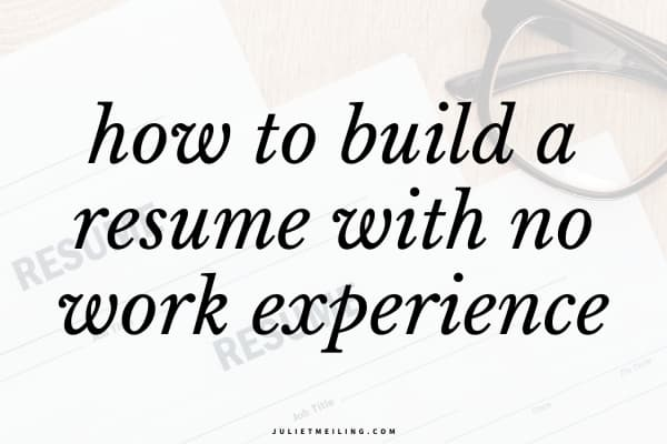 """Three college student resumes sitting on a desk next to a pair of glasses. The text overlay on the image says, """"how to build a resume with no work experience."""""""