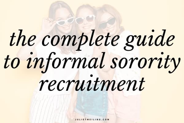 """Three women hugging and smiling because they are happy, and looking forward to, informal sorority recruitment. The text overlay says, """"the complete guide to informal sorority recruitment."""""""