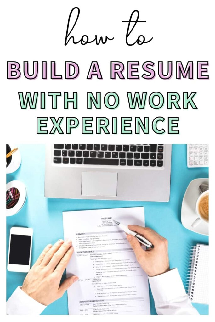 """A young college graduate checking over his resume that he created even though he has no prior work experience. The text overlay on the image says, """"how to build a resume with no work experience."""""""