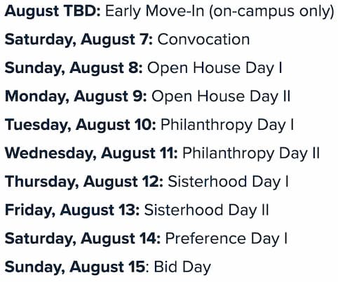 A screenshot of University of Alabama's formal recruitment schedule for 2020 used as an example to compare formal and informal sorority recruitment