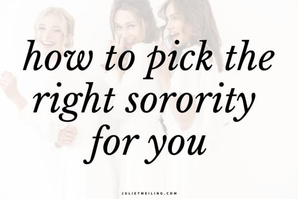 "Three women hugging each other. The text overlay says, ""how to pick the right sorority for you."""