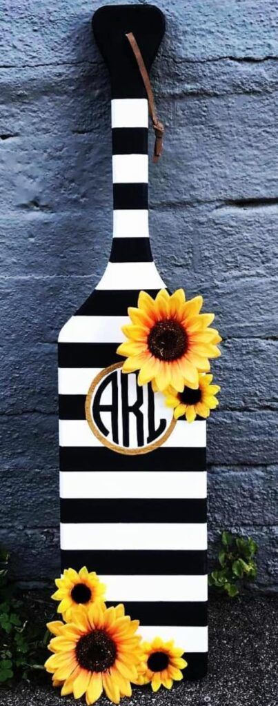Black and white striped sorority paddle for big.