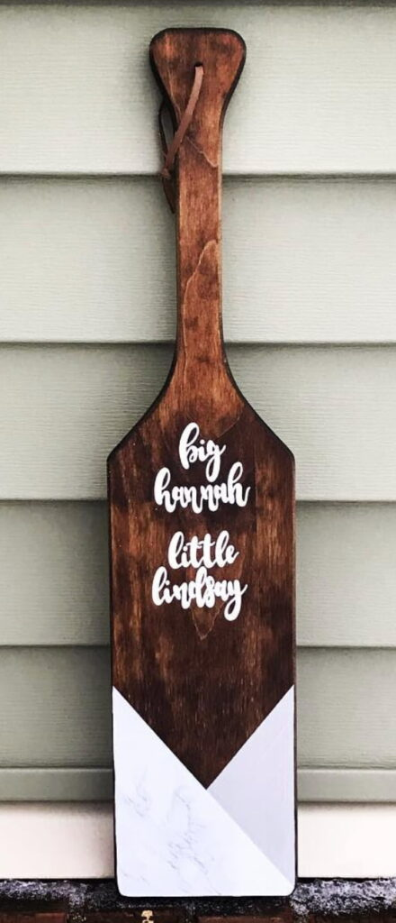 Dark wood sorority big little paddle.