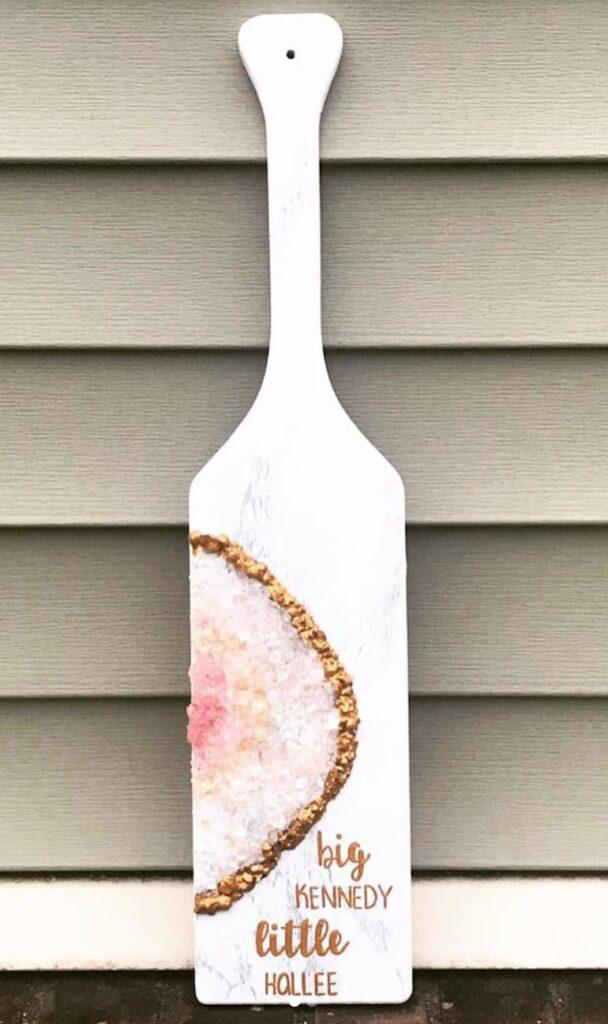 Pink geode sorority big little paddle.